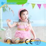 baby girls fashion beach clothes/lovely swimwear with cap for girl