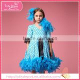 Bubble point dress with blue long kids feather dress for party girl 1-9 years
