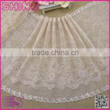 "China Factory Fashion New Design Wide 9.64"" Eslatic Skin Color Soft Spandex Nylon Warp Knitted lace trim"
