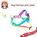 Colorful rope harness pet dog harness with a rope tow chain lovely rainbow colored strap manufacturers