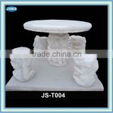 outdoor white stone elephant table and bench