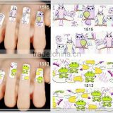 2015 hot sale eco friendly high quality snake owl frog butterfly nail art sticker decoration