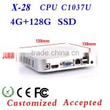 mini cpu box computer desktop mini itx case X28 C1037U support Home Premium and embedded very small but powerfull PC