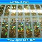 hologram scratch off labels roll easy peel off cold stick label 8*45mm have other silver , grey , zebra leopard etc