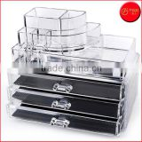 Clear acrylic makeup organizer cosmetic organizer Large 3 Drawer Jewerly Chest makeup storage makeup case