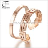 Mens Womens 10MM Opening Great Wall Stainless Steel Ring Love Promise Wedding Band Rose Gold