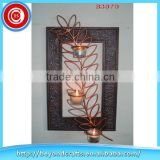 High quality tree shape indoor wall decoration wrought iron candle holders wholesale