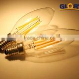 warm white with plastic e14 custom C35T led candle 2w cob led filament bulb led bulb lamp