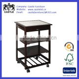 Pine wood kitchen trolley/cart/island with mid shelves,finished in dark cherry