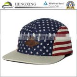 New arrival cotton flat brim USA vintage flag 5 panel hat with leather patch and leather strap