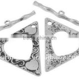 Tibetan Style Toggle Clasps, Lead Free and Nickel Free, Triangle, Antique Silver, Toggle: 47x53x2mm(TIBEP-A102074-AS-FF)