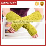 V-55 Fashion new knit warmer wrist wool winter Long fingerless mitten gloves knit arm warmers
