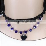 IN STOCK women crystal beads short black chocker necklace