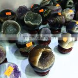 Natural Agate Geode Amethyst Geode Sphere Smile Crystal Ball