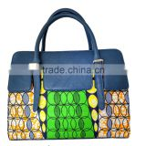 Wholesale African ankara wax print fabric women handbags African model all kinds of handbags leather purse