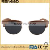 Half Round Frame wooden sunglasses with Special Bamboo Display Racks and free custom logo with