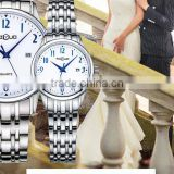 Newest simple style couple watch with japan quartz watches blue hands classical couple watches