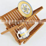 BH002/ Unique Foldaway Counter Kitchen Decor Bamboo Folding Dish Drying Stainless Steel Utensil Rack