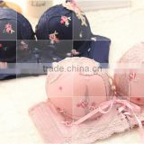 Retro Floral Bind Sexy Bra Adjustable Back Closure Sexy Bra and Panty New Design Ladies Bra