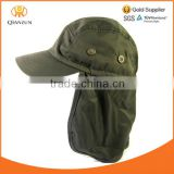 OLIVE GREEN BALL CAP HAT BUCKET EAR FLAP AND NECK SUN PROTECT HUNT HIKE FISH BUCKET HAT