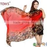 New Fashion Printed Imitated Silk Summer Shawl Sun Beach Pashmina Scarf Poncho Floral Pattern