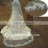 V21 Real Sample Long Beaded One Layer Lace wedding Veil 2012