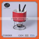 ceramic chocolate fondue pot and fondue fork stainless steel,red fondue set chocolate,chinese fondue set