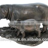 New products save 30% this week mother and baby bronze hippo sculpture