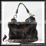 CX-H-41 Fashion Leather Fashion Women Bag Lady Wholesale Cheap Bag Rabbit Fur Women Handbag