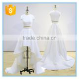 New design two piece front short back long trailing wedding dress