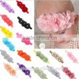 2016 wholesale baby girls boutique chiffon 3 flowers with diamond headband 17 colors