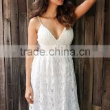 High quality Deep V padded backless white lace dress Lined summer dress women sundress Sexy hollow out party dress