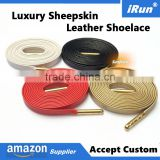 Official Flat Sneaker Leather Metallic Laces Soft Italian Sheepskin Shoelaces for Luxurious Leather Sneaker - Accept Custom
