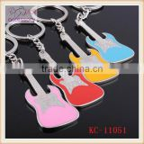 New arrival multicolor guitar shaped key chain,music style key chains
