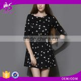 2016 Guangzhou Shandao Latest Design Printed Long Sleeve Bodycon Black Ladies Formal Patterns Dress