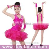 Girls Fancy Dress Costumes Sexy Backless Bling Ballroom Latin Dress For Kids