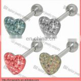 Fashion heart shaped flat rhinestone tongue ring body piercing jewlry