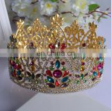 Fancy Colored Rhinestone Crystal Tiara Bridal Gold Wedding Prom Crown