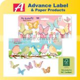 Butterfly & Bird Index Bookmark Die cut shape Note set Notepad Sticky memo pad