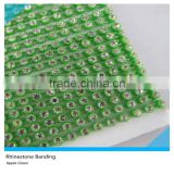 Plastic Rhinestone Trimming Sew on Ss6 2mm Crystal Apple Green Banding 1x200 Pcs 10 Yards