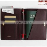 PU Leather Rfid Blocking Passport Holder With Pen                                                                         Quality Choice
