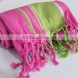 Hand beach towel kikoy tunisia handmade strip pink terry bath beach spa wrap