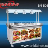 Equipment for buffet 6 pan bain marie with cabinet & heat lamps