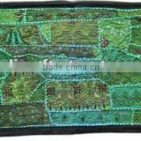 Christmas green Handmade Embroidered Wall Hanging Tapestry with Tribal indian patchwork runner