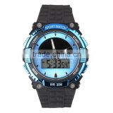 Sanda Men's Outdoor Sports Watch Waterproof Solar Power Dual Time Analog Digital Wristwatch - Black/Blue