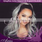 Women ladies Long Black mix Grey wavy Synthetic Cosplay lace front Wigs/wig Classic Cap