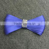 Dazzling Beaded Royal Blue Silk Ribbon Hair Bows,Elegant Hair Clip For Women