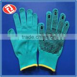Fashion Style Hand Protection Blue PVC Dotted Cotton Gloves