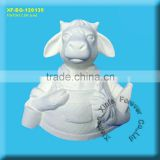 unpainted ceramic bisque cow figurine