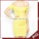 women bright yellow off shoulder wholesale bandage dress